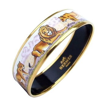 Hermes Enamel Bracelet Lions And Lionesses In Savannah Gold Hdw Size 65