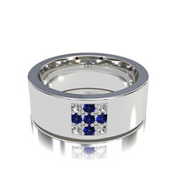 Blue sapphire and diamond wedding band, white gold, yellow gold, men's wedding band, blue sapphire, men diamond ring, cross ring, modern