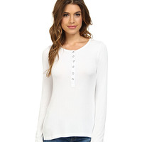 Splendid Ribbed Long Sleeve Henley White - 6pm.com