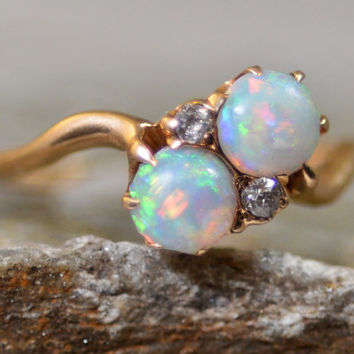 Antique Late Victorian Edwardian Opal and Diamond Bypass Ring