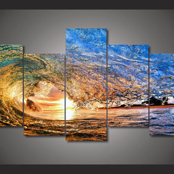 HD Printed sunset light reflecting in the wave Painting on canvas room decoratio