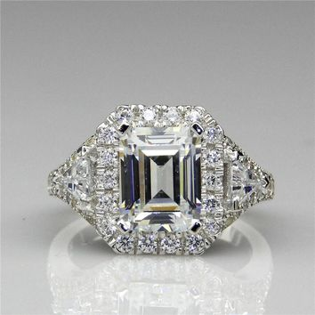 Vintage Art Deco Emerald Cut 2CT Center Halo Man Made Simulated Diamond 925 Sterling Silver Engagement Ring (CFR0347-MD2CT)