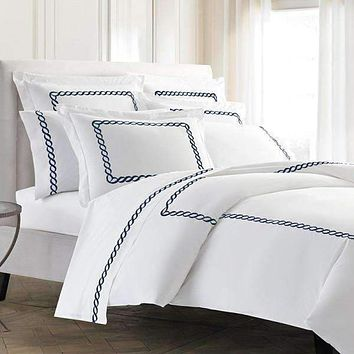 Pisano Eucalyptus Percale Embroidered Pillow Shams