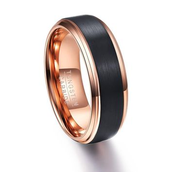 New Desgin Round Rose Gold Black Men Rings Tungsten Carbide Wedding Bands Male Ring Party Wedding Jewelry Gift