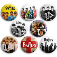 The Beatles Graphic Pinback Buttons Badge 1.25 inches (Set of 8) NEW EDITION