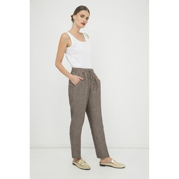 Brown Loose Fit Woven Long Pant