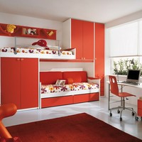 Wooden teenage bedroom with bridge wardrobe KIDS P1 Kids Collection by FAER Ambienti by Gruppo Lube | design Vittorio Lanciani