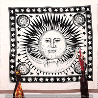 White Sun Moon Tapestry, Sun Moon Stars Tapestry, Wall Hanging, Beach Sheet, Indian tapestry, Bohemian Wall Art, Hippie Tapestries, Decor