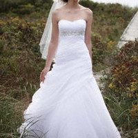 Strapless Ruched Beaded Ball Gown with Draping