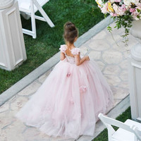 2016 New  Tulle Flower Girl Dresses Pink Custom Beads Flowers Tutu Birthday Girls Dress