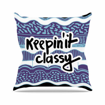 "Vasare Nar ""Keepin It Classy Purple"" Purple Typography Throw Pillow"