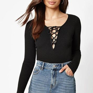 DCCKJH6 Kendall and Kylie Long Sleeve Lace-Up Sweater Top