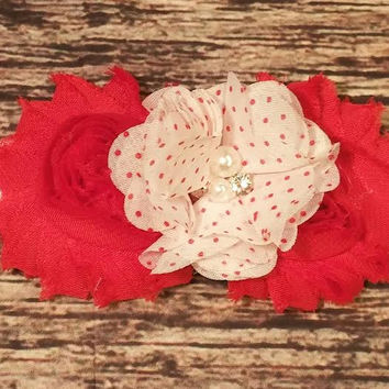 Red Shabby with Red and White Polka Dot Chiffon center Baby Girl Headband!