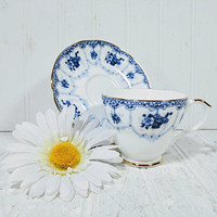 Tea Cup & Saucer Collectible Duchess Bone China in Genevieve Pattern Made in England Blue and White Cottage Chic French Country Cup + Saucer