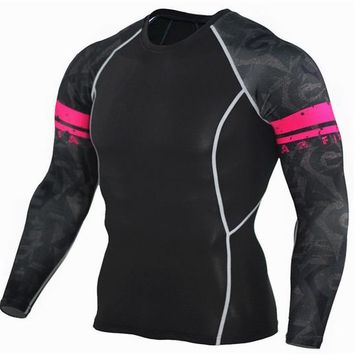 Red Band 3D Printed Compression Long Sleeve Shirt