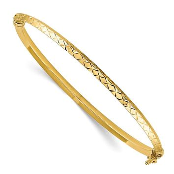 14k Yellow Gold Polished Diamond Cut Hinged Bangle Bracelet