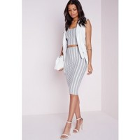 Crepe Stripe MIdi Skirt White Black - Stripe - Skirts - Missguided