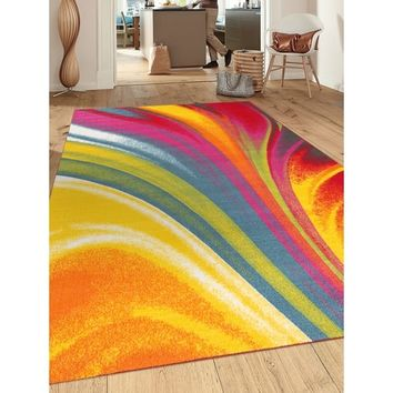 Modern Contemporary Waves Multicolor Non-slip Non-skid Area Rug (5'3 x 7'3) - 5'3 x 7'3 | Overstock.com Shopping - The Best Deals on 5x8 - 6x9 Rugs