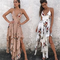 Floral print halter chiffon long dress Women backless 2017 maxi dresses vestidos Sexy white split beach summer dress