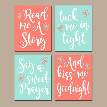 CORAL AQUA Nursery Wall Art,CANVAS or Print,Nursery Quote Decor,Read Me A Story,Kiss Me Goodnight,Rhyme Quote,Baby Crib Decor,Set of 4