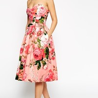 ASOS SALON Pinky Rose Bandeau Midi Prom Dress