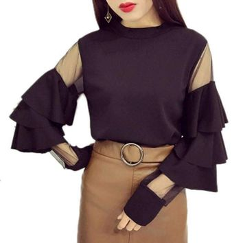 Women Stylish Blouses Shirts Ruffled Layer Sleeve Mesh Patchwork Woman Solid chic Blouse Tops