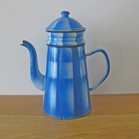 "French coffee pot, turquoise check enamel ""biggin"" style coffee maker"