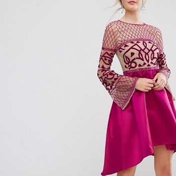 Maya Tall Allover Embellished Top Midi Dress With Asymmetric Skirt at asos.com