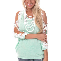 Mint Knit Dolman Top with Crochet Open Shoulders