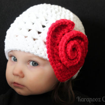 Valentine baby  crochet hat with heart, chunky white yarn, MADE TO ORDER, Baby/Toddler valentine hat, photo prop