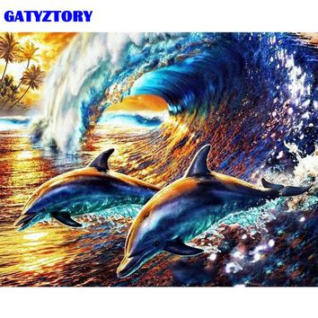 GATYZTORY Frameless Picture Dolphin DIY Painting By Numbers Animals Modern Home Wall Art Canvas Painting 40x50cm Home Decors Art