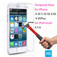 Tempered Glass Screen Protector for iPhone 7 7plus 4 4s 5 5S SE 6 6S Plus for iPod touch 4 5 6 Toughened film pelicula de vidro