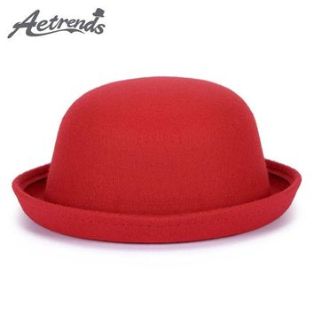 New Winter Cap Vintage Lady Fedoras Wool Felt Fedora Hats Z-5307