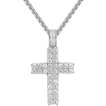 Sterling Silver Two Row Solitaire Iced Out Cross Pendant Chain