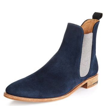Wakeby Wolf Finesse Blue Chelsea Suede Boots with White Stretch