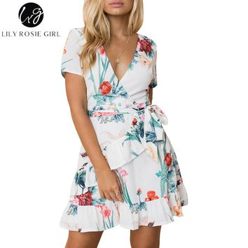 Lily Rosie Girl White Floral Print Boho Women Beach Mini Dresses Sexy V Neck Wrap Ruffles Short Sleeve 2018 Summer Vestido Dress