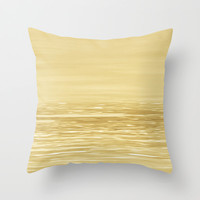 Seascape Gold Throw Pillow by Alice Gosling | Society6