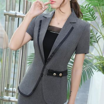 Slim Fashion Summer Short Sleeve Jackets & Blazers For Business Women Ladies Office Outwear Professional Tops Blazer Coat S-4XL