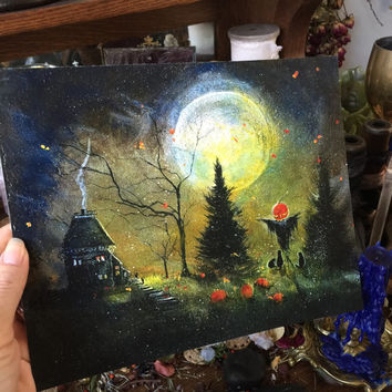 Art Print 8x10 from Original Painting Cat Moon Scarecrow Cat Halloween Gothic Folk Terri Foss