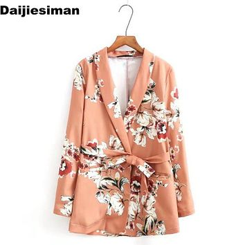 Workwear Blazers Kimono Print Flower Floral Sashes Suit Slim Jacket Long Sleeve OL Vintage Women Cardigan Tops Outerwear Brand