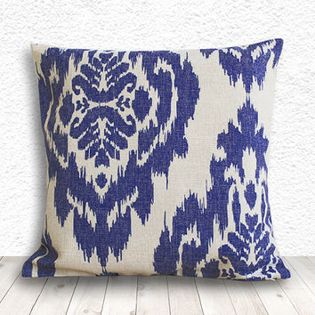 Ikat Pillow Cover, Pillow Cover, Pillow Case, Linen Pillow Cover 18x18 - Printed Ikat - 083