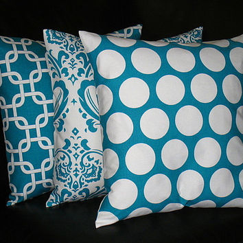 "Turquoise Pillows Decorative Pillows TRIO chain link, damask, polka dot 16 inch Throw Pillow Covers teal 16"" Turquoise, White"