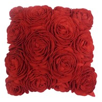 Valentine's Day Felt Roses Throw Pillow