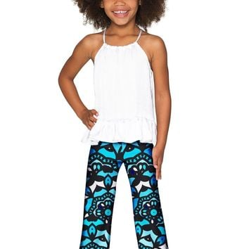 Kaleidoscope Amelia Trendy Blue Stretch Palazzo Pant - Girls