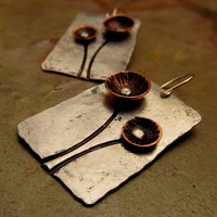 Mixed Metal Earrings with Copper Flowers by FiredUpLadiesHammer