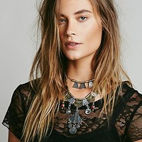 Free People Womens Shield Layered Necklace