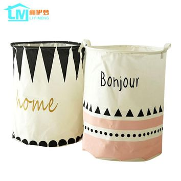 LIYIMENG Foldable Cotton Linen Clothing Organizer Bucket Washing Clothes Laundry Storage Basket With Handles Kids Toys Box