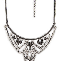 FOREVER 21 Faux Stone Chandelier Bib Necklace Clear/Gunmetal One