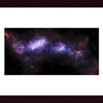 A massive nebula covers a huge region of space., framed black wood, white matte