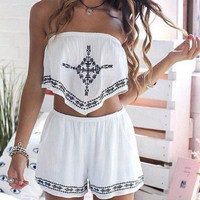 white romper boho tribal print two piece outfit